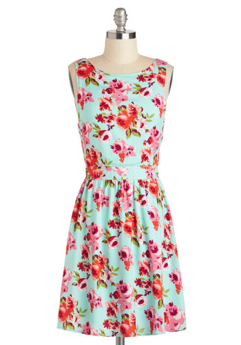 Come to My Window Box Dress - Mid-length, Floral, Casual, A-line, Tank top (2 thick straps), Spring, Blue, Multi, Daytime Party, Boat
