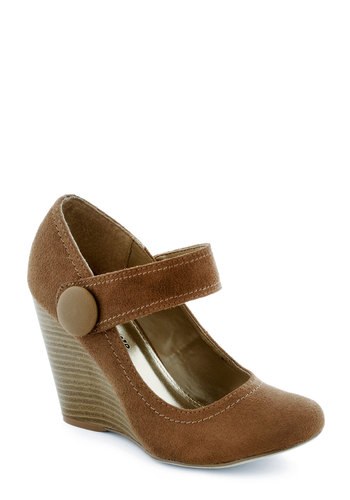 Coffee Study Break Wedge - Brown, Solid, Buttons, Work, Wedge, Mid, Scholastic/Collegiate, Mary Jane