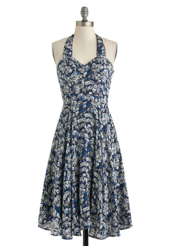 Award Show Party Dress - Blue, Multi, Floral, Halter, Spring, Long, Sweetheart, Party, Vintage Inspired, 50s, A-line, Graduation