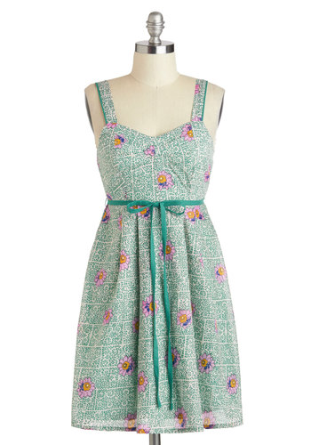 Spotted in Swirls Dress in Green - Green, Multi, Floral, Belted, Casual, Spring, Cotton, Mid-length, A-line, Tank top (2 thick straps), Sweetheart, Variation