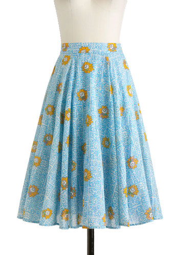 Spotted in Swirls Skirt in Blue - Blue, Floral, High Waist, Cotton, Long, Yellow, Casual, Daytime Party, Vintage Inspired, 50s, A-line, Spring, Variation