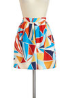 Mosaic of the Night Skirt - Multi, High Waist, Print, Pleats, Spring, Short, Summer