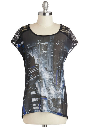 Metropolitan Marvel Top - Black, Blue, Grey, Lace, Casual, Short Sleeves, Sheer, Mid-length, Novelty Print, Urban, Scoop, Travel