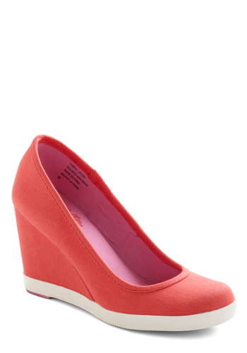 Alright with Me Wedge by Seychelles - Red, White, Solid, Mid, Wedge, Casual, Variation