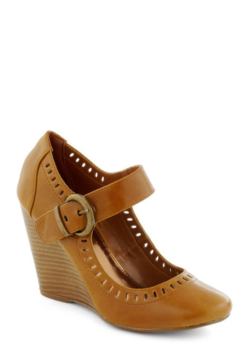 Caramel Sunday Wedge - Tan, Solid, Cutout, Wedge, Work, Vintage Inspired, High, Faux Leather, Mary Jane, Winter