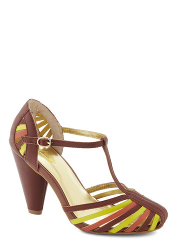 Tempest Heel in Brown by Seychelles - Tan, Multi, Solid, High, Leather, Party, Daytime Party, Vintage Inspired, Variation
