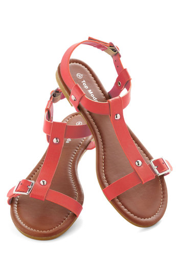 Coastline Stroll Sandal in Coral - Coral, Solid, Buckles, Summer, Flat, Faux Leather, Studs, Casual, Beach/Resort, Variation