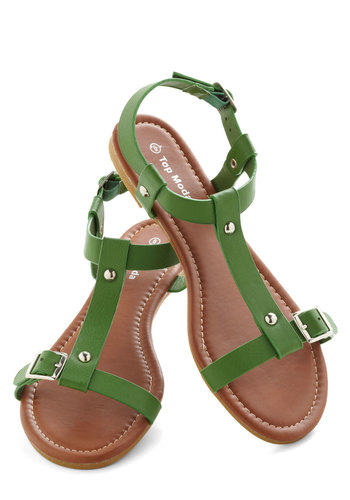 Coastline Stroll Sandal in Green - Green, Solid, Buckles, Summer, Flat, Studs, Casual, Beach/Resort, Faux Leather, Variation