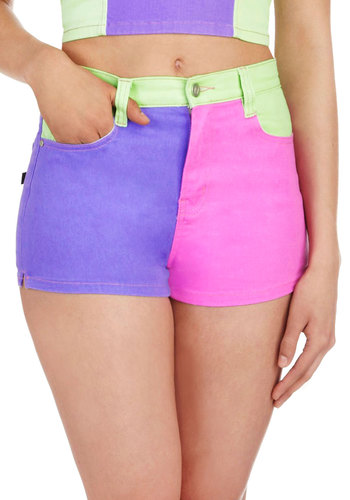 It's All Good Shorts by Mink Pink - Multi, Green, Purple, Pink, Pockets, Cotton, Casual, Girls Night Out, Vintage Inspired, 80s, 90s, Colorblocking, High Waist, Summer