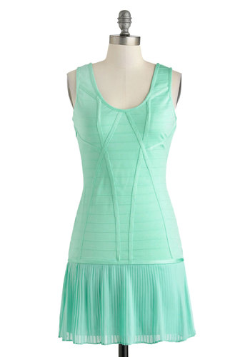 Mint to Dance Dress - Short, Mint, Solid, Pleats, Party, Pastel, Bodycon / Bandage, Tank top (2 thick straps), Vintage Inspired, 30s
