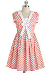 Book Club Cutie Dress by Knitted Dove - White, Polka Dots, Bows, Casual, A-line, Spring, Mid-length, Pink, Vintage Inspired, Cap Sleeves