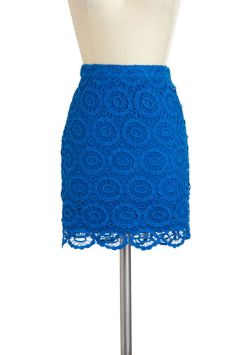 Sand Dollar Daydreams Skirt by Jack by BB Dakota - Cotton, Short, Blue, Solid, Crochet, Girls Night Out, Mini