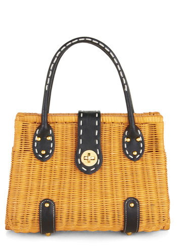 Weaving Presently Bag - Tan, Black, Solid, Studs, Trim, Woven, Casual, Beach/Resort, Nautical, Vintage Inspired, Summer