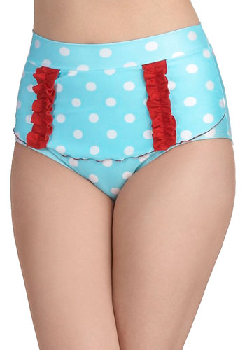 Too Cool for Pool Swimsuit Bottom - Blue, Red, White, Polka Dots, Ruffles, Tiered, Beach/Resort, Vintage Inspired, 50s, Summer, High Waist, Pinup, Nautical