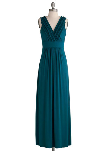 Sea the Sights Dress - Green, Solid, Ruffles, Casual, Maxi, Long, Jersey, V Neck, Beach/Resort, Summer, Basic, Cover-up, Top Rated