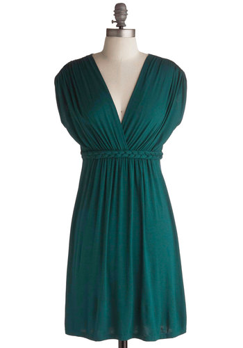 Closet Braid Dress in Deep Jade - Green, Solid, Braided, Casual, A-line, Empire, Short Sleeves, Exclusives, Jersey, Holiday Sale, V Neck, Tis the Season Sale, Variation, Basic, Cover-up, Maternity, Short
