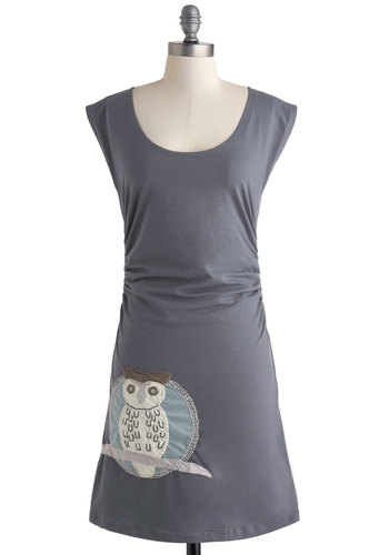 Owl at the Moon Dress - Mid-length, Grey, Multi, Print with Animals, Embroidery, Casual, Owls, Shift, Cap Sleeves, Scoop, Ruching, Eco-Friendly, Travel, Halloween
