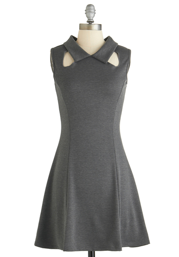 Design Class Dress - Mid-length, Grey, Solid, Cutout, A-line, Sleeveless, Collared, Party, Girls Night Out, Summer