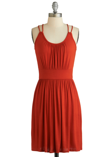 Your Mind at Ease Dress - Short, Jersey, Red, Solid, Casual, A-line, Sleeveless, Scoop, Beach/Resort, Summer