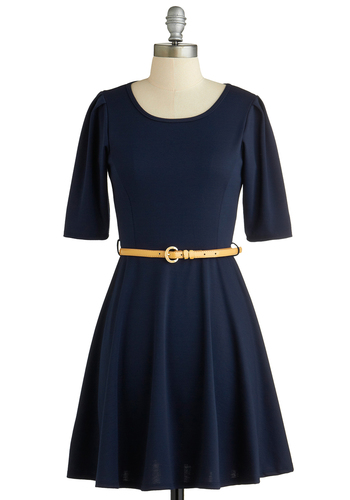 Simple Kind of Dress - Mid-length, Blue, Solid, Belted, Casual, A-line, Short Sleeves, Scoop, Basic, Exclusives