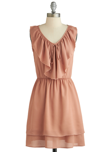 Blushing Rose Dress - Short, Pink, Solid, Ruffles, Party, A-line, Sleeveless, V Neck