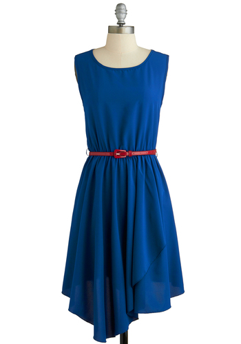 Rest Azured Dress - Long, Blue, Solid, Belted, Party, A-line, Sleeveless, Scoop, Minimal, Summer
