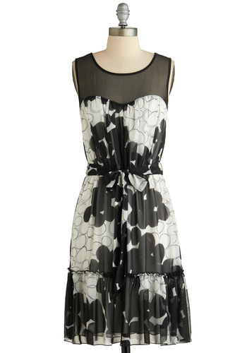 Balloon Drop Dress - Sheer, Mid-length, Black, Grey, Floral, Belted, Party, A-line, Sleeveless, Scoop