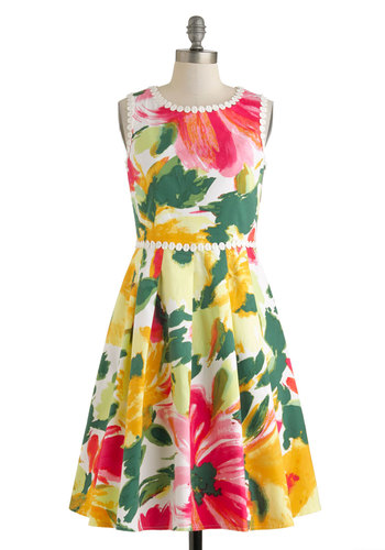 Art Museum Engagement Dress - Floral, Trim, Vintage Inspired, A-line, Sleeveless, Spring, Cotton, Multi, Yellow, Green, Pink, White, Pockets, Daytime Party, Crew, Graduation