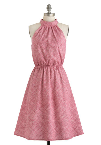 One Bright Bushel Dress - Cotton, Long, Pink, Solid, Daytime Party, Fit & Flare, Sleeveless, Pockets, Exclusives