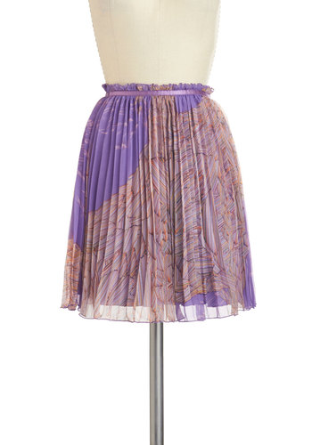 Rock Whiz Skirt - Purple, Multi, Short, Print, Pleats, Daytime Party