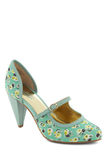 Cheeky Heel by Seychelles - Green, Multi, Floral, Mid, Leather, Fairytale, Spring, Mint