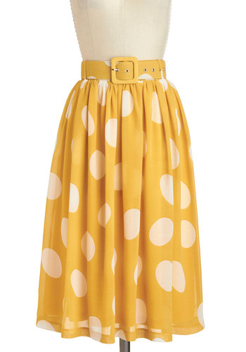 Doll About Town Skirt - Yellow, White, Polka Dots, Belted, Daytime Party, Vintage Inspired, Spring, Summer, Long