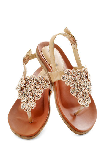 Flora Fascination Sandal - Tan, Flower, Rhinestones, Luxe, Fairytale, Summer, Low, Faux Leather, Daytime Party