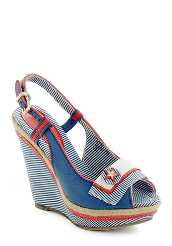 Boat Couture Wedge - Blue, Red, White, Stripes, Buttons, Nautical, High, Platform, Wedge, Peep Toe, Slingback, Faux Leather, Summer, Pinup