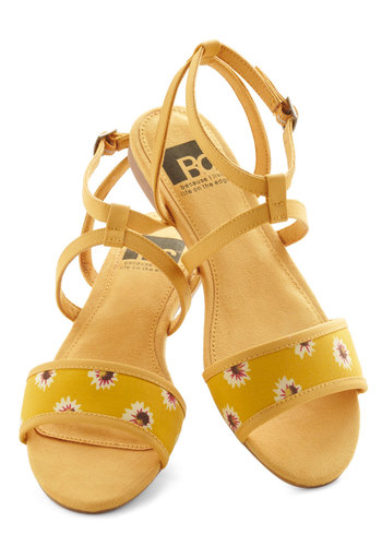 All's Flair in Love Sandal in Floral by BC Shoes - Yellow, Multi, Floral, Flat, Daytime Party, Spring, Summer, Variation