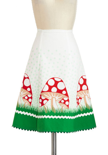 Glowing in the Garden Skirt - White, Red, Green, Tan / Cream, Novelty Print, Trim, Work, Daytime Party, Mushrooms, Quirky, A-line, Vintage Inspired, 60s, Spring, Cotton, Mid-length