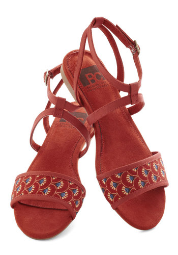 All's Flair in Love Sandal in Fans by BC Shoes - Red, Multi, Print, Flat, Casual, Summer, Variation