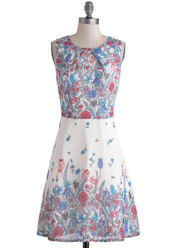Tracing Your Dreams Dress - Red, Blue, Grey, Floral, Daytime Party, A-line, Sleeveless, Scoop, Wedding, Vintage Inspired, Mid-length, White
