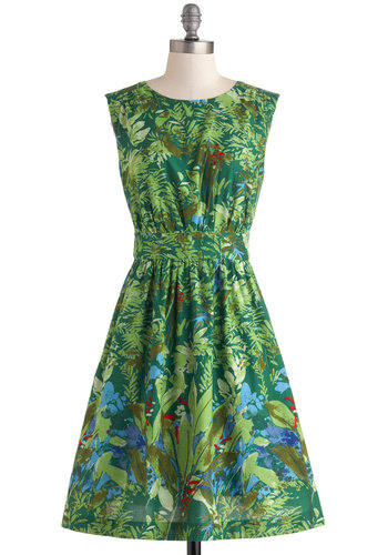 Too Much Fun Dress in Green Floral by Emily and Fin - Green, Red, Blue, Brown, Print, Daytime Party, A-line, Sleeveless, Scoop, Pockets, Beach/Resort, Vintage Inspired, Summer, Variation, Cotton, Basic, Mid-length, Novelty Print