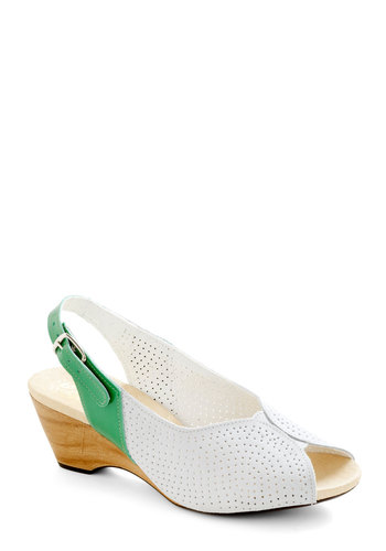 My Fairway Lady Heels by Wörishofer - Green, White, Yellow, Tan / Cream, Solid, Cutout, Peep Toe, Mid, Leather, Summer