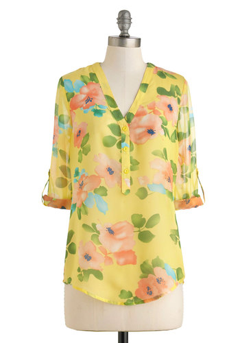 Hip Conservatory Top - Yellow, Green, Blue, Pink, Floral, Buttons, Work, Daytime Party, 3/4 Sleeve, Mid-length