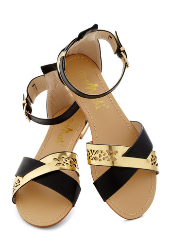 The Ascent of Glam Sandal - Black, Gold, Cutout, Summer, Flat, Faux Leather