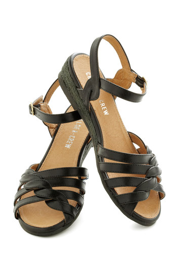 Huge Hugs Sandal in Pavement by Chelsea Crew - Black, Solid, Braided, Low, Leather, Casual, Beach/Resort, Summer, Variation