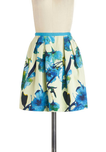 Topiary of the World Skirt by Knitted Dove - Cream, Blue, Floral, A-line, Cotton, Short, Pockets, Work, Daytime Party, Spring