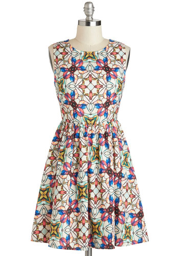 Stained Glass Window Dress - Multi, Print, Party, A-line, Sleeveless, Crew, Vintage Inspired, Statement, Mid-length, Mid-Century, Exclusives