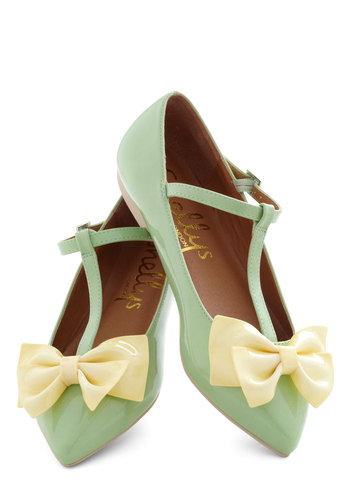 Steal the Bow Flat by Shellys of London - Mint, Yellow, Solid, Bows, Flat, Vintage Inspired, Fairytale, Pastel, International Designer