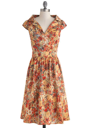 Haute-el California Dress by Myrtlewood - Orange, Multi, Floral, Casual, A-line, Cap Sleeves, Collared, Vintage Inspired, 50s, Satin, Long, Exclusives, Private Label, Work