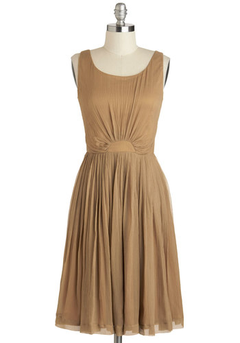Pour and Simple Dress - Tan, Solid, Ruching, Cocktail, A-line, Tank top (2 thick straps), Scoop, Vintage Inspired, 50s, Mid-length