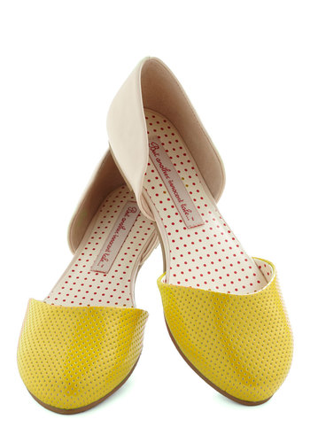 Yogurt Parfait Flat in Lemon by B.A.I.T. Footwear - Yellow, Tan / Cream, Solid, Colorblocking, Flat, Leather, Spring, Variation