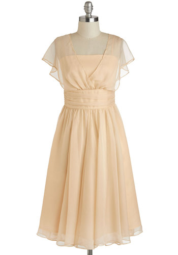 Patio Reception Dress - Cream, Solid, Cocktail, A-line, Cap Sleeves, Wedding, Bride, Vintage Inspired, 30s, Long, Exclusives